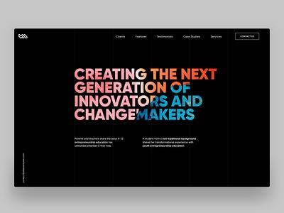 Venture Labs - Homepage header black minimalistic fluid fluidity gradient minimal typography hero header homepage