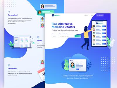 Holcura - Landing Page design system app health app web website saas website trend modern ui kit ui gradient platform saas health doctors alternative medicine