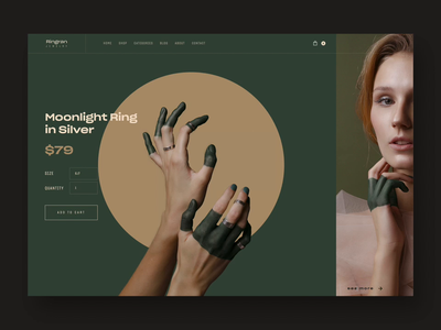 Ringran - Product Page animated with CSS typography wedding ui ux modern shopping video motion design interaction homepage website ecommerce shop ecommerce product girl jewelry ring css animation motion