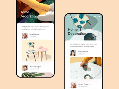 Inspiration Feed 🌿 achitecture decor cards shopping app feed ui ux social modern ios clean