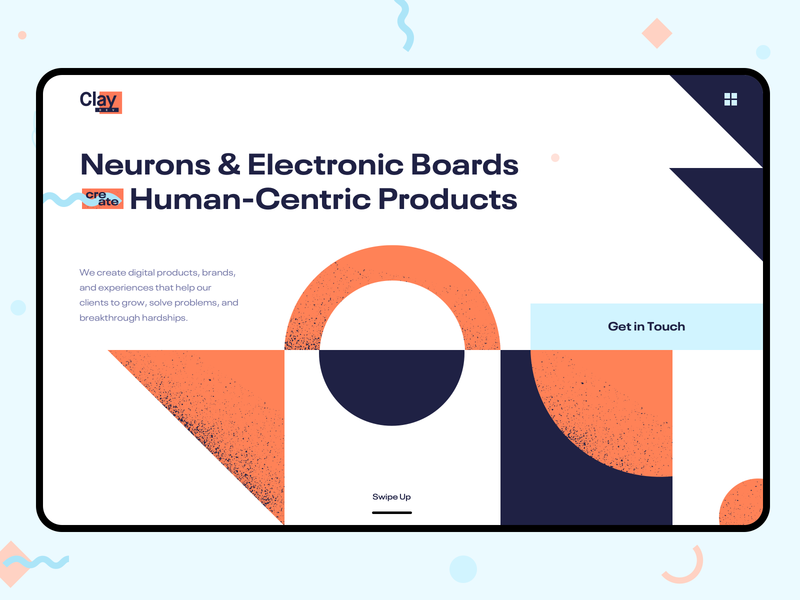 Creative Agency • Devclay ☄️ header hero section contact human centric geometic abstract uiux ui web design home page web page design illustration modern clean