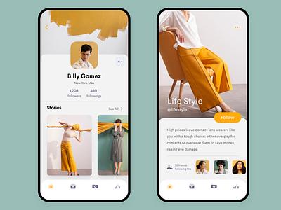Social App  • Profiles home contact friends tag profile card design app feed ui ux social modern ios clean