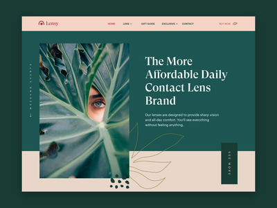 Lenses Store • Home Page 🌿👁 girl feminine ux ui modern clean store ecommerce leaf beige green eye pattern serif header hero landing page home page lens lenses