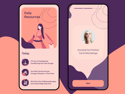 Daily Resources • Beauty Blog ios ux ui illustrator beauty salon news walkthrough orange purple girl feminine feed settings profile resources daily blog beauty
