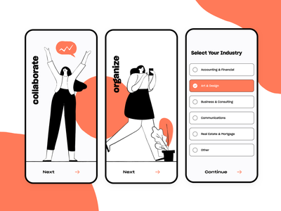 Planning & Collaboration App • Walkthrough and Form productivity app modern duotone clean ux ui form field brush select industry illustraion organization organize collaborate collaboration plan planning app forms walkthrough