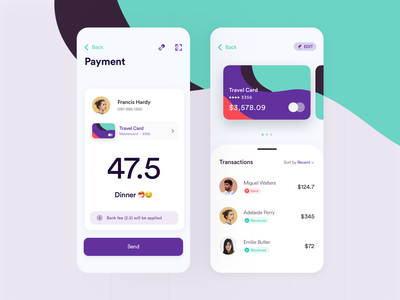 Send Money • Mobile Screen contacts select creative purple green colorful transaction banking send money pay payment credit card dashboard app ios ux ui modern clean