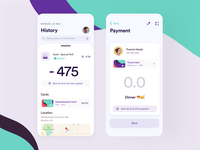 Payment History - Cards - Transaction • Mobile App funds android currency cash money transfer bank wallet banking credit cards transaction history payment modern app ux ios ui clean