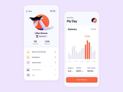 Workout Statistics & Profile 🥇 clean design workout tracker ux user ui support statistics sports settings running profile premium plans picture modern ios gym fitness clean charts