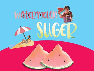 watermelon sugar poster summer vector poster background design illustration graphicsdesign illustrator