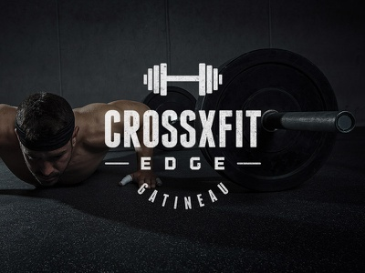 Crossfit crossfit gym edge musculation dumbell muscle logo typography