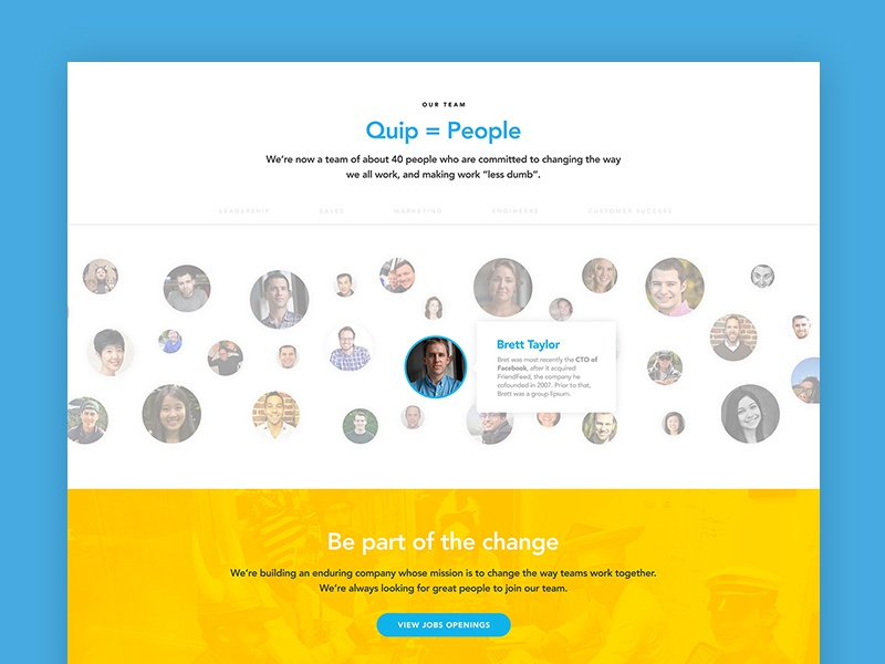 Quip Company marketing layout flat web ui ux startup saas team culture yellow blue