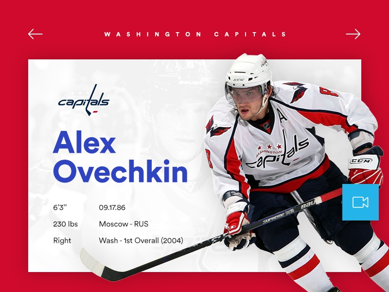 Ovie nhl layout ice sport stats player ui capitals playoff hockey