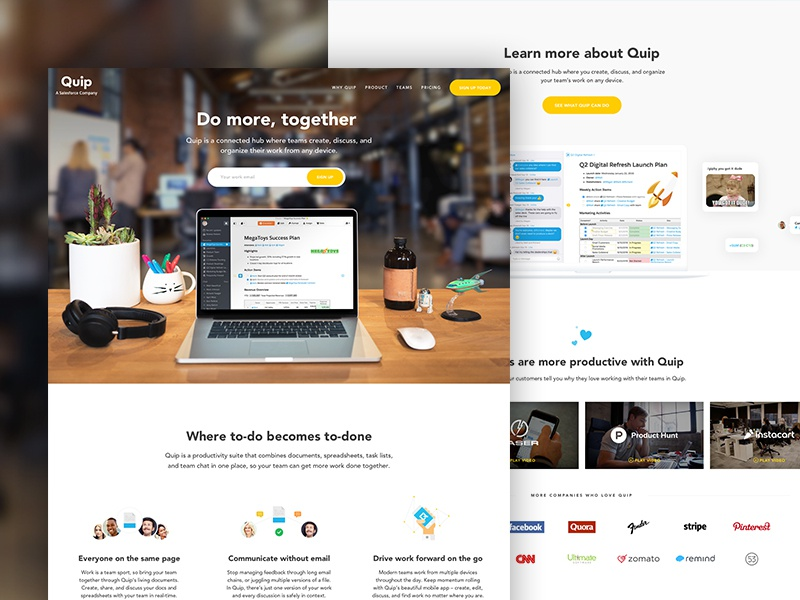 Quip Home Page icons design app photography video productivity quip