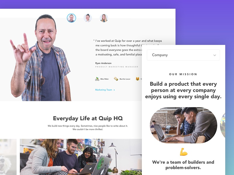 Quip Careers landing web photography blue tech careers productivity quip