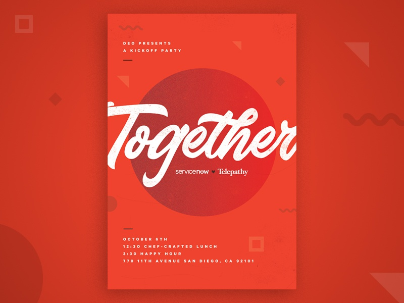 Together Poster bold texture handwritten script shapes geometric design red poster