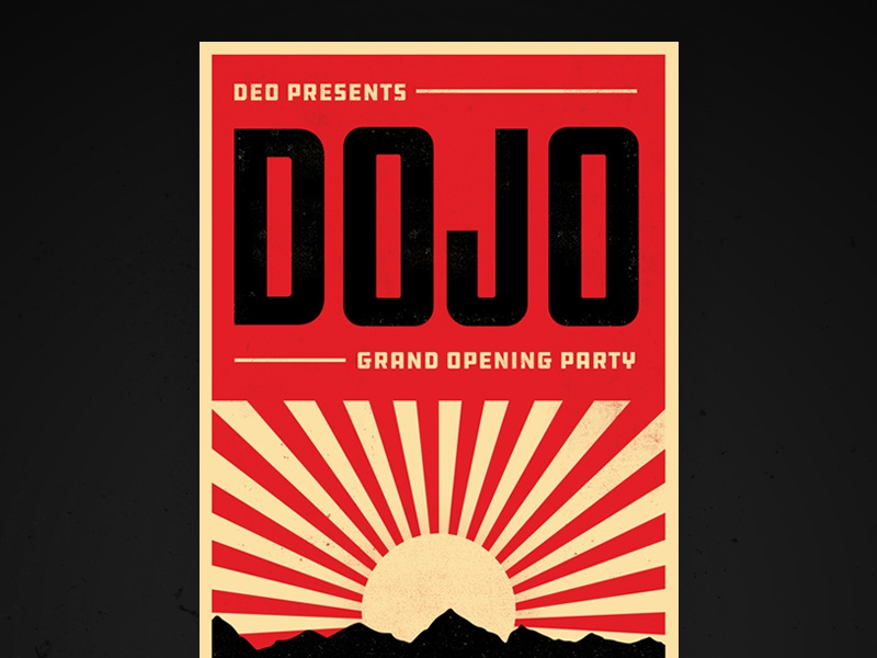 Dojo Grand Opening Party black red illustration sunrise party karate poster