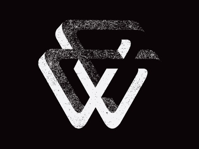 W Logo Concept 2 w triangle impossible shape illusion m. c. escher black white