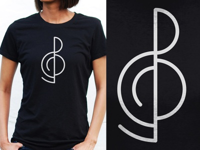 Minimal Treble tshirt symbol minimal notes clef treble music