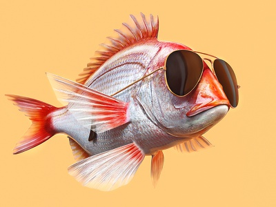 Aviator fish render corona 3d ray-ban aviator glass fish