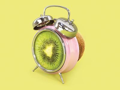 wake up, spring! up wake pink 3d render yellow clock alarm kiwi