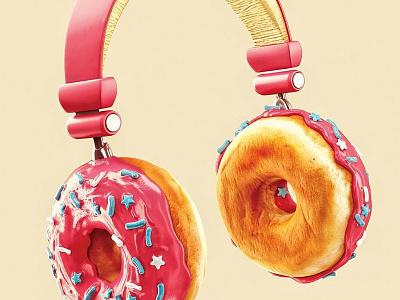 Donut headphones 3d render chockolate pink sweets donut headphones