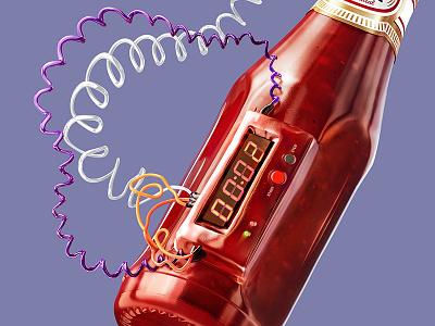 Ketchup bomb timer cg render 3d macro explode sauce ketchup