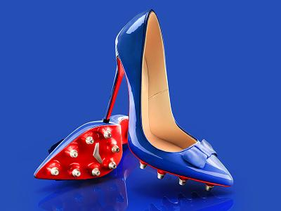 Louboutin soccer illustration render 3d shoes louboutin soccer