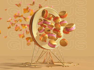 Globus Butterfly design corona render apparel fashion illustration sweets portal gold butterfly 3d