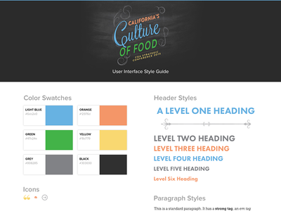 Style Guide for CGASC digital gear style guide web design museo slab futura flat color palette guide type header buttons icons