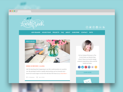 The Lovely Geek Homepage turquoise blog design homepage