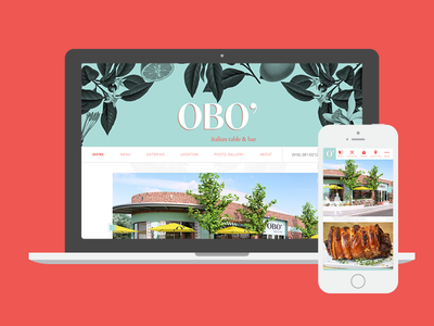 Responsive Design for OBO' homepage botanical roboto austin sacramento italian restaurant responsive mobile desktop