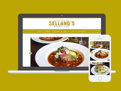 Selland's Market Café mobile design web design rosewood trade gothic fontin sacramento website food cafe restaurant