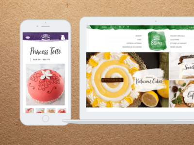 Ettore's Bakery & Café cafe bakery cakes hello beautiful raleway kraft paper watercolor e-commerce tablet desktop mobile