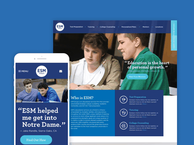 ESM Prep design website mobile desktop gotham archer blue mentors education school college