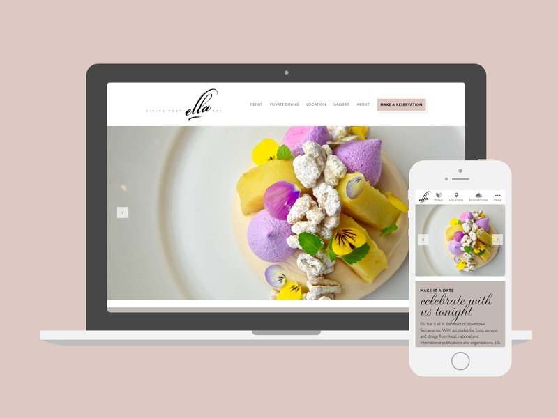 Ella Dining Room & Bar wordpress web design mobile desktop flat rosewater ux ui food design gravura gill sans responsive website restaurant sacramento