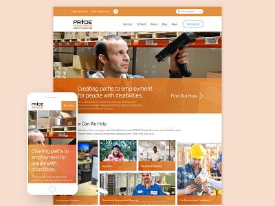 PRIDE Industries People Services orange veterans disabilities oscine gradients wordpress desktop mobile web design ux ui design responsive website