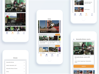 The Maranatha Channel App flat volunteer missions christian video ux design ui android ios mobile app