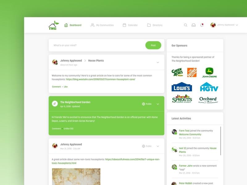 The Neighborhood Garden farmers garden social gradients desktop mobile web design ux ui design responsive website