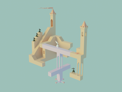 Monument Valley 3D Fan Art web clean illustration ui artist art graphic design design 3d location 3d game 3d art 3d
