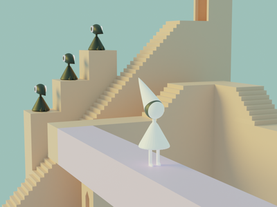 Monument Valley 3D Fan Art (2) 3dcharacter 3dlocation fan art 3dmonymentvalley 3d art artist ui graphic design design
