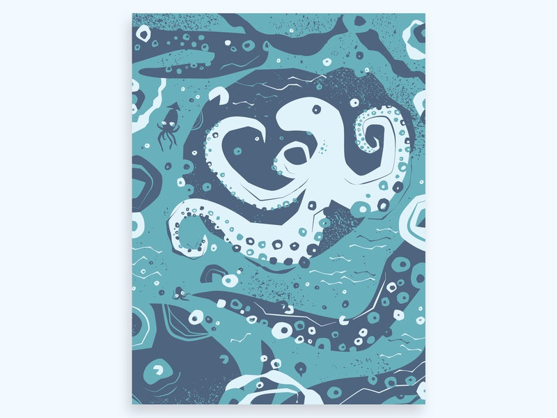Octopus Mama turquoise texture blue hand drawn fish ocean sea water illustrator drawing experimental poster illustration octopus