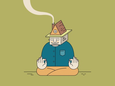 Forest Hermit peace nature green vector sitting cabin smoke house meditate hermit forest