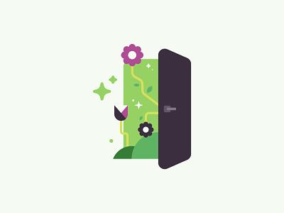Door to flowers flowers register signup minimal simple green purple illustration door vector