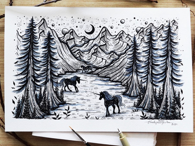 Running for hope. art illustration drawing unicorns trees scenery mountains landscape animals horse