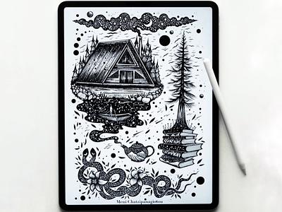 Mood board digital digital art scenery landscape illustration nature ipad pro ipad procreate books cabin snake drawing