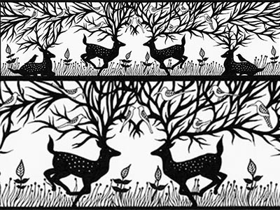 Land of the Deer - Panasonic's Cut Out the Darkness drawing paper paper cutting pen ink panasonic deer animal bird nature handdrawn illustration