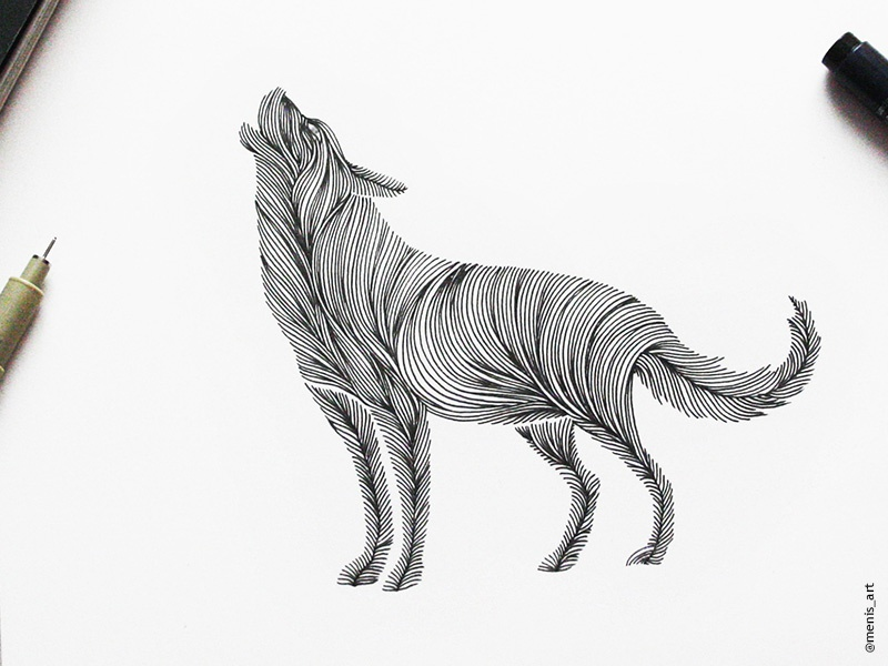 Line Drawing Giraffe : Animal lines wolf by meni chatzipanagiotou dribbble