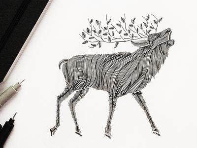 Line Drawing Deer : Printable wall art line drawing deer