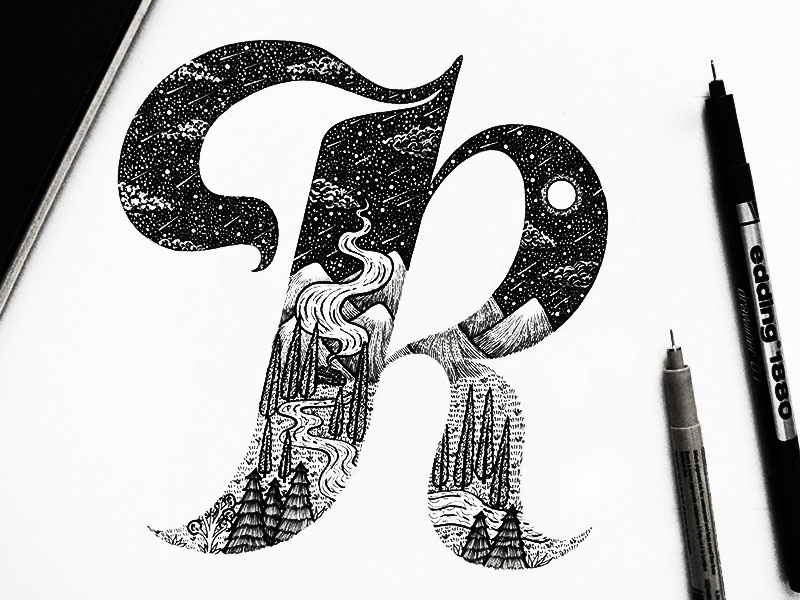 Hand Lettering R Design By Meni Chatzipanagiotou