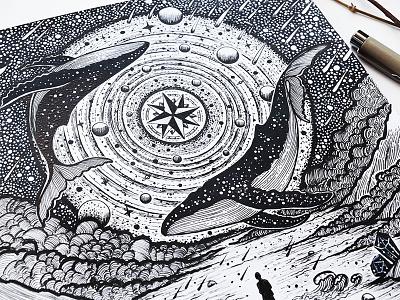 Alchemist compass drawing whale sea planet galaxy handmade nature night design art illustration
